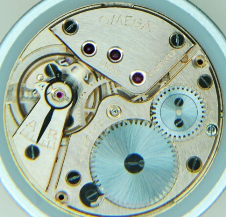 A vintage Omega hand-wound movement after service