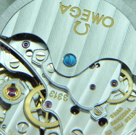 Closeup image of the modern 3313 automatic chronograph movement from Omega